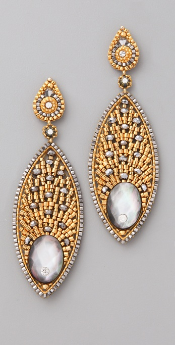 Miguel Ases Mother of Pearl Pyrite Crystal Earrings