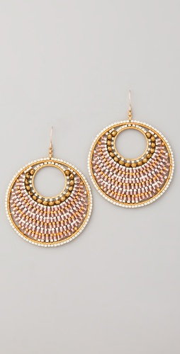 Miguel Ases Bronze Beaded Circle Earrings