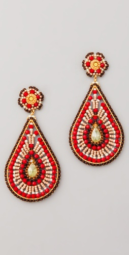 Miguel Ases Bead & Crystal Teardrop Earrings