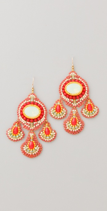 Miguel Ases Cherry Quartz Chandelier Earrings
