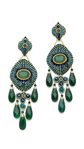 Miguel Ases Green Onyx Chandelier Earrings