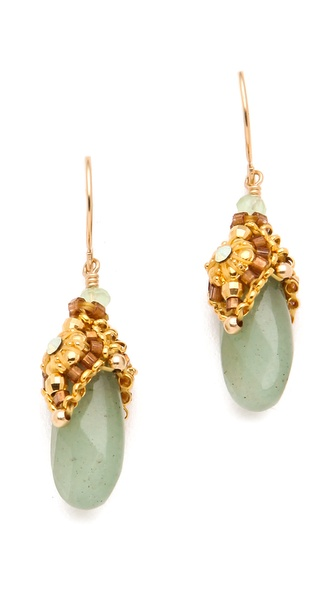 Miguel Ases Aventurine Drop Earrings