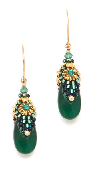 Miguel Ases Green Onyx Drop Earrings