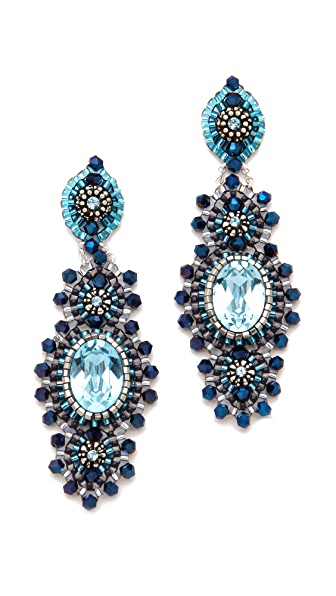 Miguel Ases Antique Silver & Crystal Earrings