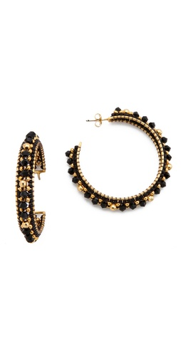 Shop Miguel Ases Mirror Beaded Hoops and Miguel Ases online - Accessories,Womens,Jewelry,Earring, online Store