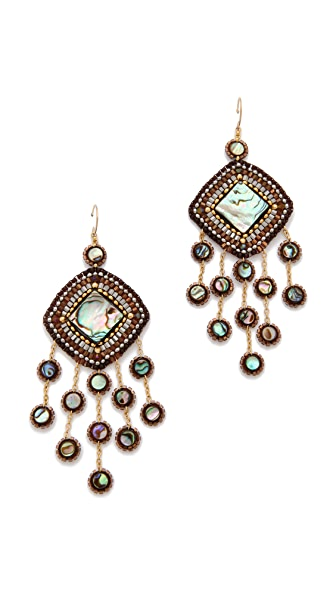 Miguel Ases Abalone & Vermeil Beaded Earrings