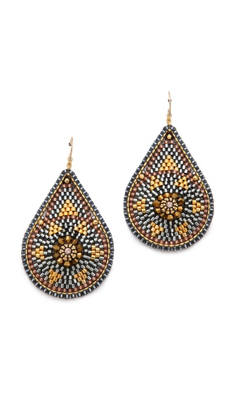 Miguel Ases Metallic Teardrop Earrings