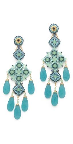 Miguel Ases Long Quartz Chandelier Earrings