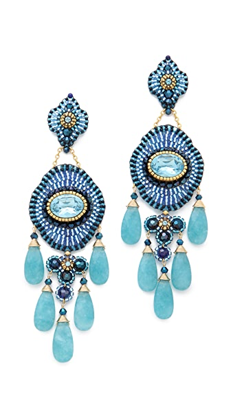 Miguel Ases Long Quartz & Lapis Chandelier Earrings