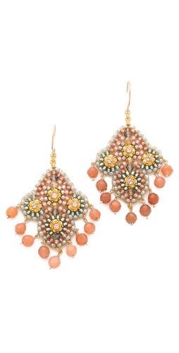 Miguel Ases Beaded Quatrefoil Earrings