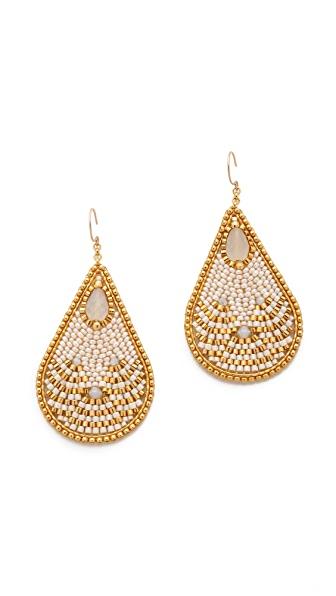 Miguel Ases Teardrop Beaded Earrings