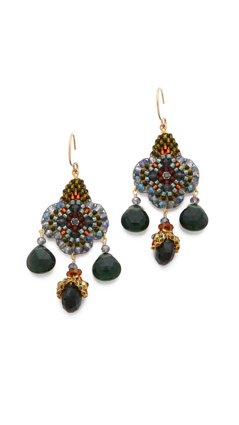Miguel Ases Floral Gem Earrings