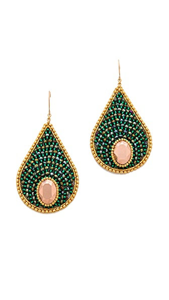 Miguel Ases Beaded Round Teardrop Earrings