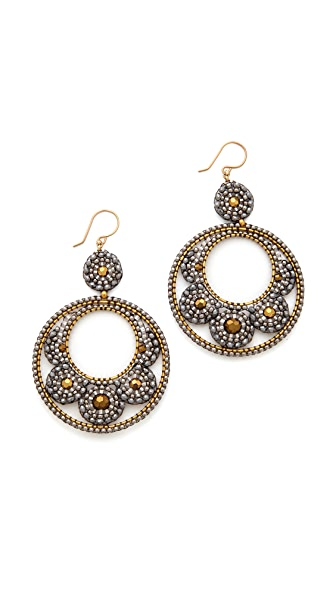 Miguel Ases Beaded Hoop Earrigns