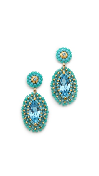 Miguel Ases Marquis Beaded Earrings