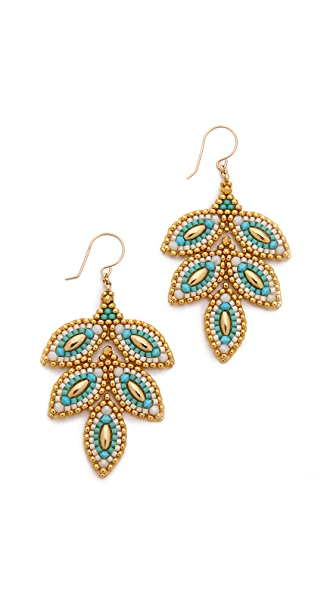 Miguel Ases Beaded Leaf Earrings