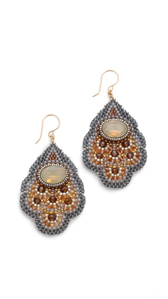 Miguel Ases Beaded Quartz Earrings