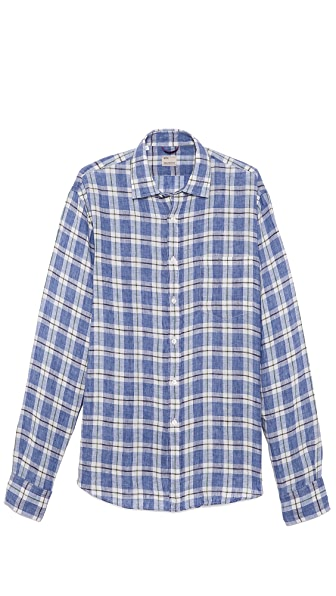 Mason's Linen Plaid Sport Shirt