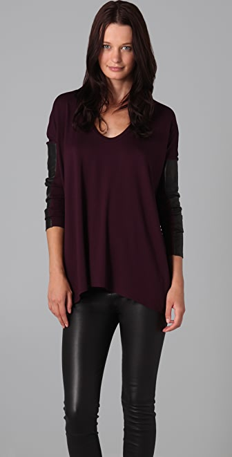 Mason by Michelle Mason Long Sleeve Top with Leather