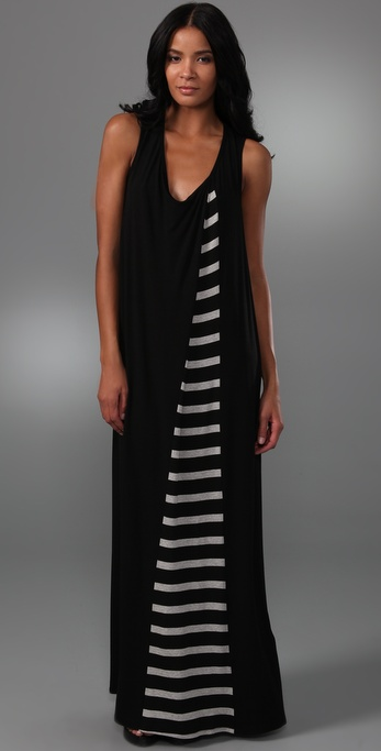 Mason by Michelle Mason Long Dress with Striped Inset
