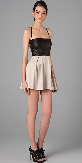 Mason by Michelle Mason Leather Bodice Dress