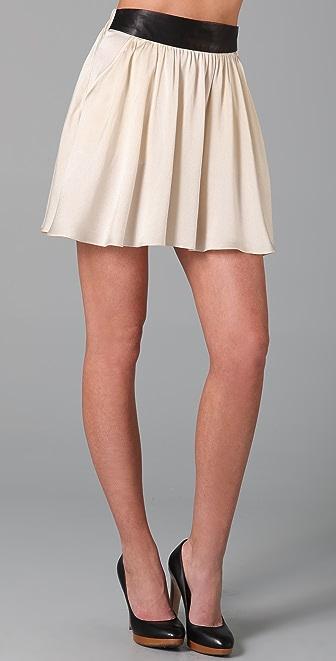 Mason by Michelle Mason Leather Waistband Miniskirt