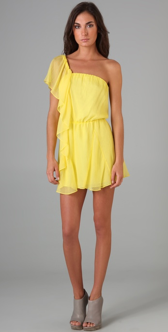 Mason by Michelle Mason Asymmetrical Ruffle Dress
