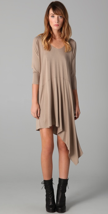 Mason by Michelle Mason Long Sleeve Dress with Asymmetrical Hem