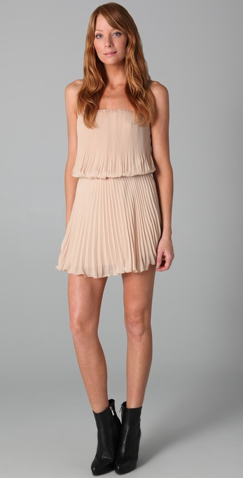 Mason by Michelle Mason Pleated Strapless Dress