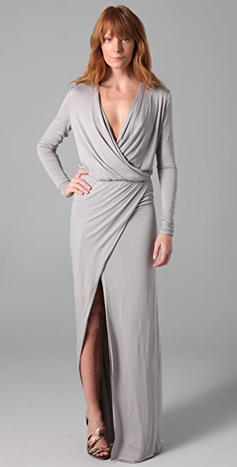 Mason by Michelle Mason Long Sleeve Wrap Gown
