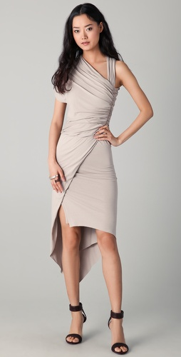 Mason by Michelle Mason Draped Asymmetrical Dress