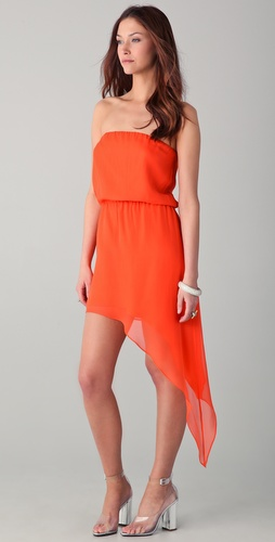 Mason by Michelle Mason Strapless Asymmetrical Hem Dress