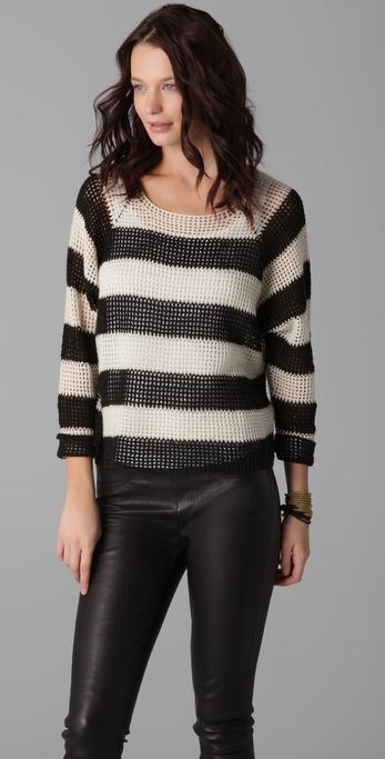 Mason by Michelle Mason Open Knit Striped Sweater