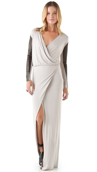 Mason by Michelle Mason Leather Sleeve Gown