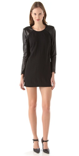 Shop Mason by Michelle Mason Leather Sleeve Shift Dress and Mason by Michelle Mason online - Apparel,Womens,Dresses,Day_to_Night, online Store