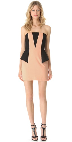 Mason by Michelle Mason Contrast Strapless Dress