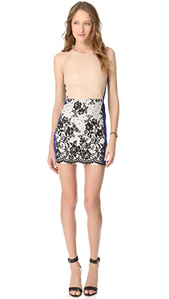 Mason by Michelle Mason Leather Bodice Contrast Dress