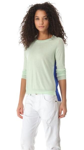 Mason by Michelle Mason Two Tone Cashmere Silk Sweater