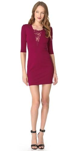 Mason by Michelle Mason Long Sleeve Lace Inset Dress