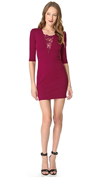 Mason by Michelle Mason Long Sleeve Lace Inset Dress