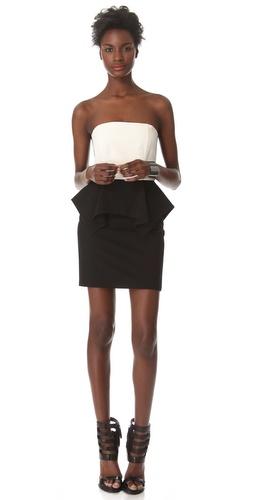 Mason by Michelle Mason Lambskin Peplum Dress
