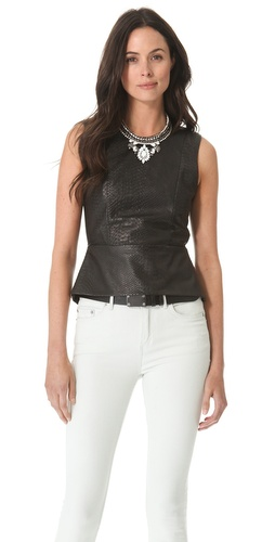 Kupi Mason by Michelle Mason Leather Front Peplum Top i Mason by Michelle Mason haljine online u Apparel, Womens, Tops, Tee,  prodavnici online