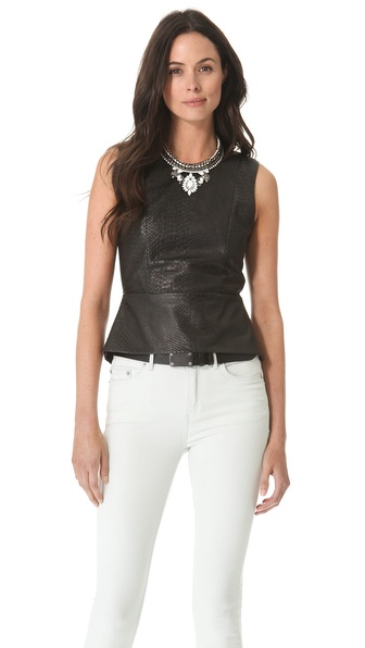Mason by Michelle Mason Leather Front Peplum Top