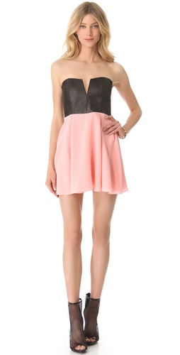 Shop Mason by Michelle Mason Strapless Leather Bodice Dress and Mason by Michelle Mason online - Apparel,Womens,Dresses,Cocktail,Night_Out, online Store