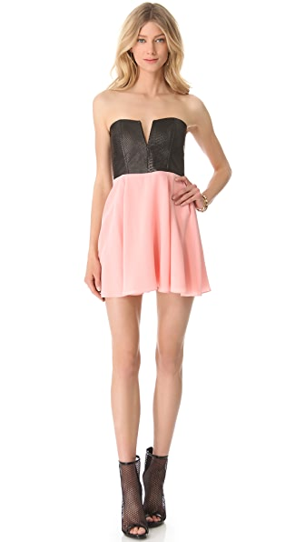 Mason by Michelle Mason Strapless Leather Bodice Dress