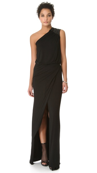 Mason by Michelle Mason Asymmetrical Gown with Leather Trim