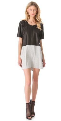 Shop Mason by Michelle Mason Leather Front Tee Dress and Mason by Michelle Mason online - Apparel,Womens,Dresses,Day_to_Night, online Store