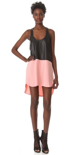 Shop Mason by Michelle Mason Leather Front Tank Dress and Mason by Michelle Mason online - Apparel,Womens,Dresses,Day_to_Night, online Store