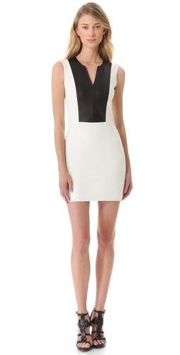 Mason by Michelle Mason Leather Inset Tank Dress