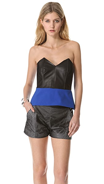 Mason by Michelle Mason Leather Front Corset Top